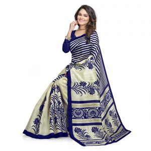 Buy Kotton Mantra Blue Cotton Silk Printed Designer & Party Wear Saree With Blouse Piece (kms5v1110) online