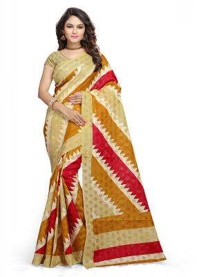 Buy Kotton Mantra Yellow Cotton Printed Party Wear Saree With Blouse Piece (kmscv4001) online