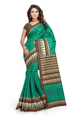 Buy Kotton Mantra Green Cotton Printed Party Wear Saree With Blouse Piece (kmscv4020) online