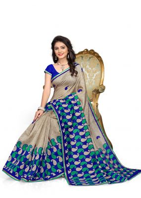 Buy Kotton Mantra Grey Cotton Printed Designer Saree With Unstitched Blouse Piece (kmsq4015) online