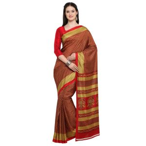 Buy Kotton Mantra Red Silk Printed Designer Saree With Blouse Piece online