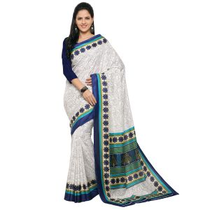 Buy Kotton Mantra White Silk Printed Designer Saree With Blouse Piece online