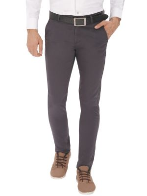 Buy Inspire Charcoal Slim Fit Men's Casual Trousers online