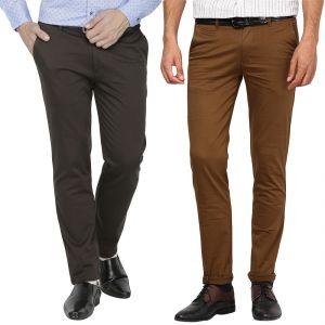 Buy Inspire M.green & Dark Khaki Lycra Chinos Pack Of 2 online