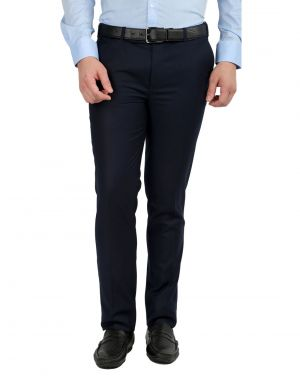 Buy Inspire Premium Blue Slim Fit Formal Trouser online