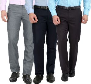 Buy Gwalior Pack Of 3 Formal Trousers - Blue, Grey, Light Grey online