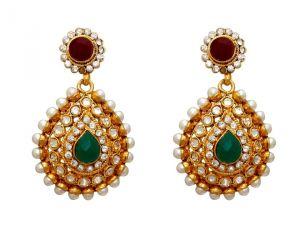 Buy La Trendz Fashion New Drop Shape Green Ethnic Dangle Earrings(lt1048) online