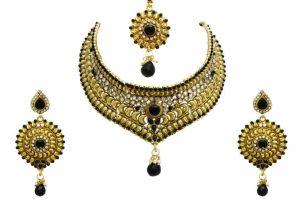 Buy LA TRENDZ Bridal Wedding Wear Designer Black Chokker Set online