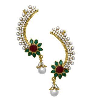 Buy LA TRENDZ Fashion Pearl And Diamond Ear Cuff online
