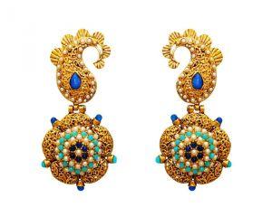 Buy La Trendz Fashion New Opal Blue With Fine Metal Design Earrings(lt967obm) online