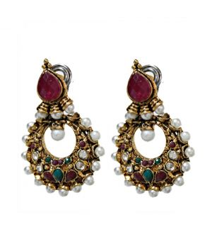 Buy La Trendz Pearl Crescent Earrings(940) online
