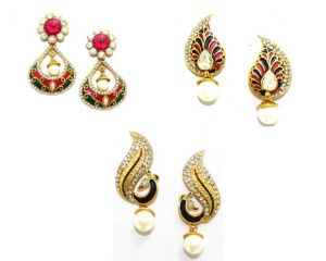Buy La Trendz Pearl Drop Earring Combo Set Of 3 online
