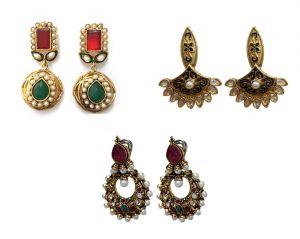 Buy La Trendz Multicolour Earring Combo Set Of Three Designer Traditional Earrings online