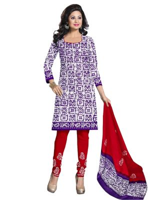 Buy Padmini Unstitched Printed Cotton Dress Material (product Code - Dtbjbatiklight7005) online