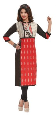 Buy Padmini Unstitched Printed Cotton Kurti Fabrics (product Code - Dtafpuregold3005) online