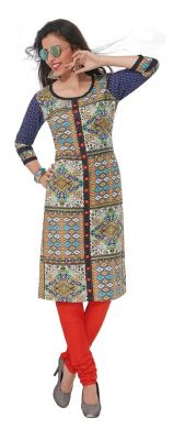 Buy Padmini Unstitched Printed Cotton Kurti Fabrics (product Code - Dtafpuregold3008) online