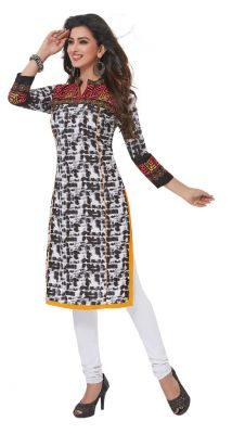Buy Padmini Unstitched Printed Cotton Kurti Fabrics (product Code - Dtafpuregold3012) online