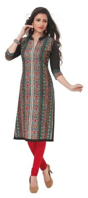 Buy Padmini Unstitched Printed Cotton Kurti Fabrics (product Code - Dtafpuregold3015) online