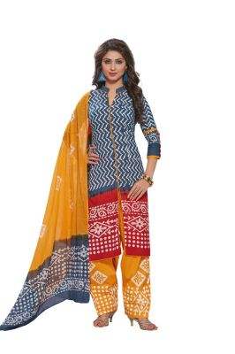 Buy Padmini Unstitched Printed Cotton Dress Material (product Code - Dtafbattik2752) online