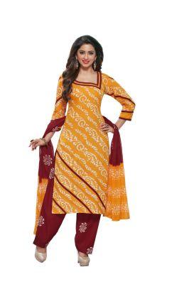 Buy Padmini Unstitched Printed Cotton Dress Material (product Code - Dtafbattik2755) online