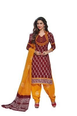 Buy Padmini Unstitched Printed Cotton Dress Material (product Code - Dtafbattik2758) online