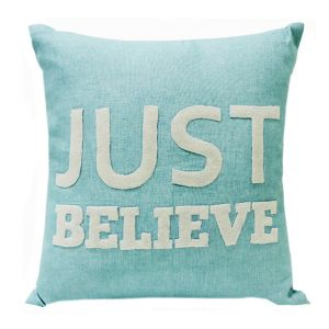 Buy Blueberry Home Linen Fabric Light Blue Color Cushion Cover (40x40 Cms) online