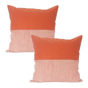 Buy Blueberry Home Orange color Cotton fabric cushion covers set of 02 online
