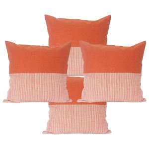 Buy Blueberry Home Cotton Fabric Orange Color Cushion Covers Set Of 4 (40x40 Cms) online