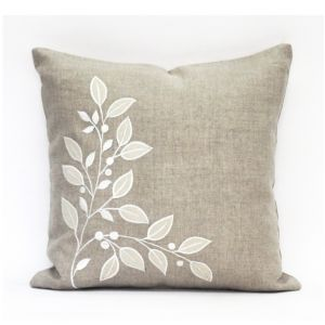 Buy Blueberry Home Linen Fabric Beige Color Cushion Cover (40x40 Cms) online