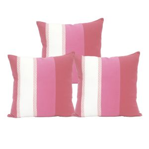 Buy Blueberry Home Striped Pattern Pink Color Cotton Fabric Cushion Cover Set Of 3 (40x40 Cms) online