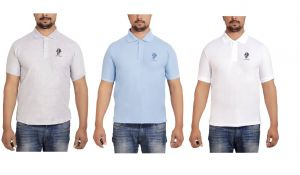 Buy Sphinx Men's Rich Cotton Polo T Shirt - Pack Of 3 (white, Grey & Sky Blue) online