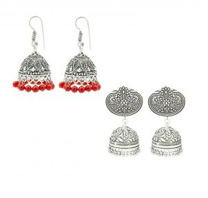 Buy Frabjous Beautiful Red Pearl Oxidized Silver Designer Wedding Jhumki Earrings Combo For Womens online