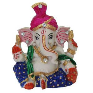 Buy Marvellous Marble Pink Pagdi Lord Ganesha Idol Meenakari And