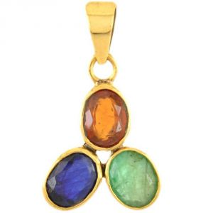 Buy Nirvanagems Emerald, Garnet And Blue Sapphire Panchdhatu Pendant online