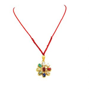 Buy Nirvanagems Natural Navratna Pendant In Panchdhatu Metal With Red Thread online