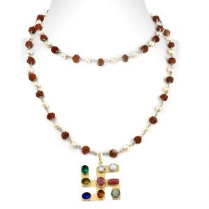 Buy Nirvanagems Navratna With Natural Rudraksha & Pearl In Silver Wire Chain Necklace-nvg-024rf online