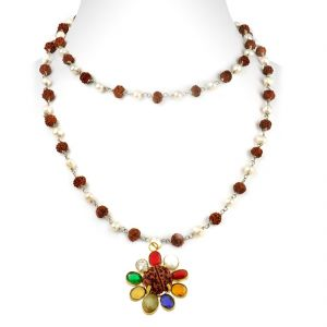 Buy Nirvanagems Navratna With Rudraksha & Pearl In Silver Wire Chain Necklace-nvg-025rf online