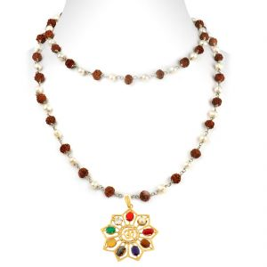 Buy Nirvanagems Star Shape Navratna In Panchdhatu Metal Necklace-nvg-027rf online