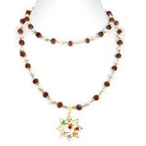 Buy Nirvanagems Designer Navratna Necklace With Pearl And Rudraksha Beads Chain-nvg-028rf online