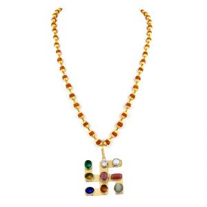 Buy Nirvanagems Navratna Necklace With Rudraksha With Gold Capping-nvg-029rf online