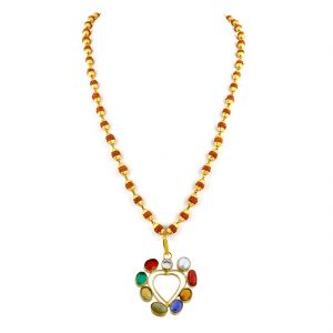 Buy Nirvanagems Heart Shape Designer Navratna Necklace With Rudraksha Beads-nvg-031rf online
