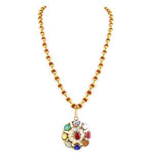 Buy Nirvanagems Natural Navratna Necklace With Rudraksha-nvg-035rf online