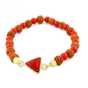 Buy Nirvanagems 5.25 Ct Natural Red Coral With Rudraksha Beads Adjustable Bracelet online