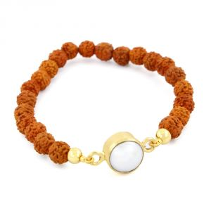 Buy Nirvanagems Rudraksha Beads With 7 Ct Pearl Adjustable Bracelet In Panchdhatu online