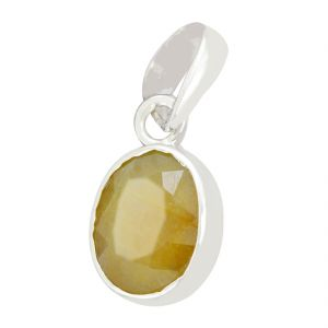Buy Certified 6 Ratti Yellow Sapphire Pukhraj Gemstone Silver Pendant online