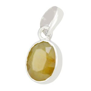 Buy Certified 7 Ct Yellow Sapphire Gemstone Silver Pendant online