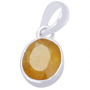 Buy Certified 7.25 Ratti Yellow Sapphire Silver Pendant online