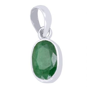 Buy 10.50 Ct Certified Panna Emerald Gemstone Silver Pendant online