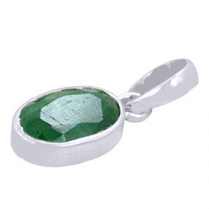Buy Certified 3.50 Ratti Panna Green Emerald Silver Pendant online