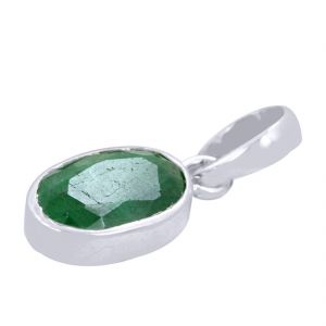 Buy Certified 7 Ct Certified Green Emerald Silver Pendant online